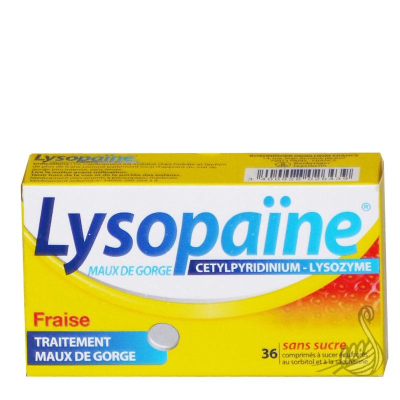 lysopaine maux de gorge fraise 36 comprim s sans sucre boehringer ingelheim pharmacie des. Black Bedroom Furniture Sets. Home Design Ideas