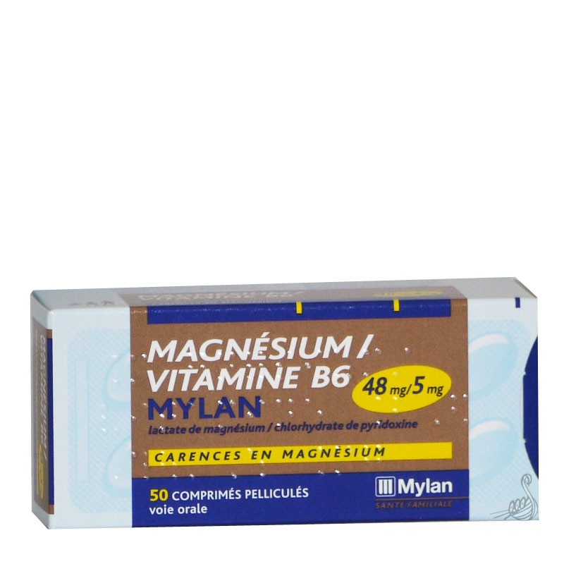 prix de magnesium 48mg vitamine b6 5mg mylan boite de 50 comprim s. Black Bedroom Furniture Sets. Home Design Ideas
