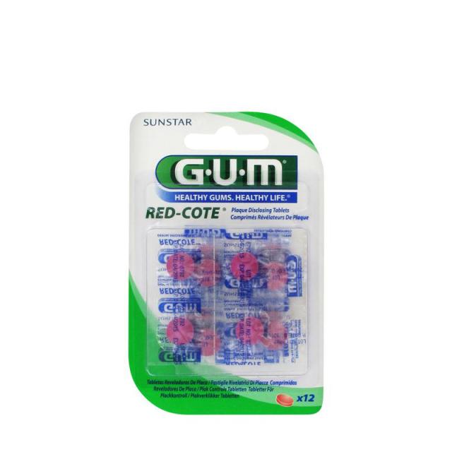 GUM Red Cote Révélateurs de Plaque 12 Comprimés