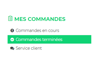 """Onglet """"mes commandes"""""""